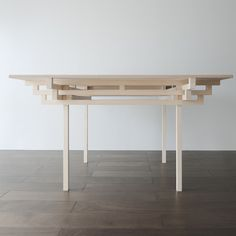 Japanese architect Hiroyuki Tanaka designed the structure of this table based on the roof and pillar systems of ancient temples. Called Temple Table, the wooden design features four interlocking frames made of batons with the same section. Photographs are by Shimizu Ken. Here are some more details from Hiroyuki Tanaka: Temple Table Japanese traditional temple