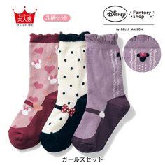 Socks 3 pattern set Minnie Disney - Japan