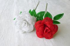 French beaded roses in red and white!