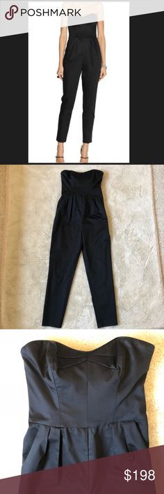 "Milly New York Black Strapless Jumpsuit size 2 Super chic Milly New York Black Strapless Jumpsuit size 2. Fancy shiny cotton material, flattering pleats, and pockets. Fitted but not skin tight legs slightly cropped- looks amazing with heals. Well fitted top and waist stays ""up"" on its own. Excellent versatile addition to your wardrobe. Milly of New York Pants Jumpsuits & Rompers"