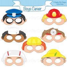 Boys Career Printable Masks, careers, police, fireman, doctor, fisherman, chef, astronaut, boys costume, job masks, jobs, construction