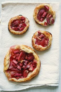 Little strawberry rhubarb pies for spring.