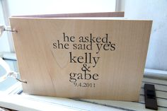 """9x6"""" Wood Wedding Guest Book / Album - He asked, she said yes - with Custom Names and Date via Etsy"""