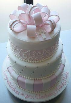 Melodys Pink Baptism Cake | Flickr - Photo Sharing!