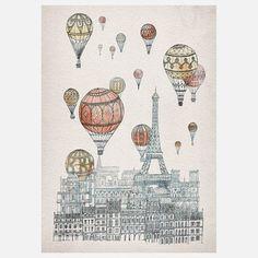 Fleck Illustration - Art of imaginary architecture // Voyages Over Paris Print Tour Eiffel, Illustrations, Illustration Art, Balloon Illustration, Art Parisien, Framed Art Prints, Canvas Prints, Painting Canvas, Paris Canvas