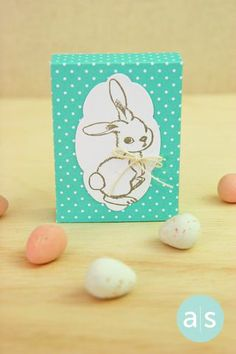 "Sweet treats for Easter - so EASY with the A Muse Studio Candy Box die set and some stamps.  This box measures 3"" x 2 1/4"" x 3/4"".  Holds are sorts of goodies. Follow us @A Muse Studio for more party favor ideas! #amusestudio #papercrafts #diyparty #eastercrafts #eastertreats #candybox"