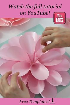 Learn how to make this gorgeous dahlia paper flower with FancyBloom. It's easy to make with detailed video tutorial and free templates! Follow the link to watch the full video on YouTube and download templates! #paperdahlia #paperflower #paperflowertutorial #paperflowertemplates #diypaperflower How To Make Paper Flowers, Large Paper Flowers, Crepe Paper Flowers, Paper Flower Backdrop, Diy Flowers, Paper Dahlia, Paper Peonies, Dahlia Flower, Diy Arts And Crafts