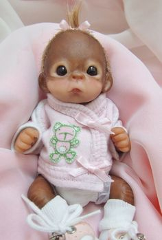 OOAK Baby Orangutan Monkey Girl Sculpted Polymer Clay Art Doll Teddy Bear #Dolls