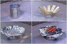 little grill made from a tin can + tin foil + a small grate .