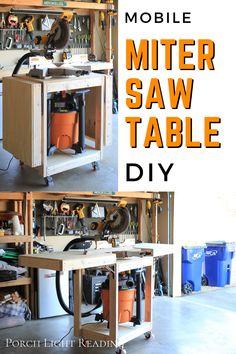 Miter Saw Stand Plans, Miter Saw Bench, Diy Miter Saw Stand, Table Saw Workbench, Folding Workbench, Workbench Plans, Workbench Designs, Mobile Workbench, Diy Garage Work Bench