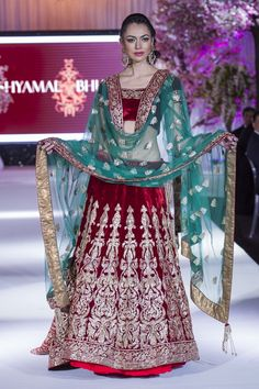 Shyamal Bhumika @ Bibi London on the catwalk at THINK PINK fashion show #red #green #lengha Pakistani Clothing, Pakistani Bridal Dresses, Pakistani Outfits, Desi Bride, Desi Wedding, Wedding Ideas, Pink Fashion, Asian Fashion, Fashion Show