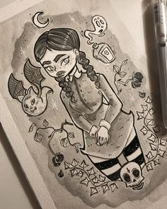 Inktober: Day 1 (cult goth girl 1 of Ink Art, Goth Girls, Inktober, Character Design, Cinema, Watercolor, Day, Drawings, Illustration