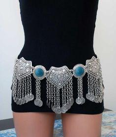 Gypsy Bohemia Vintage Silver Plated Inlay Acrylic Beads Coin Tassel Belt Boho Pendant Waist Belly Dance Body Chain Jewelry Women