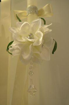 Formal but love the crystal wrap detail Greek Wedding, Diy Wedding, Wedding Ideas, Baptism Candle, Glamorous Wedding, Christening, Flower Arrangements, Wedding Decorations, Ivory