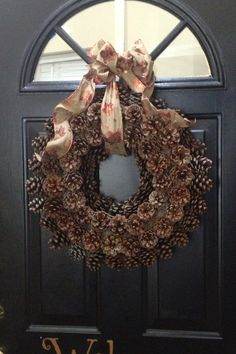 Pinterest party night!  Pine cone wreath.  Love it.