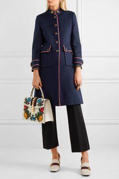 Gucci | Verzierter Mantel aus Wollfilz mit Metallic-Besatz | NET-A-PORTER.COM