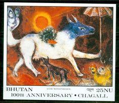 Bhutan 1988 Scott 629 Marc Chagall Artist Cow with Parasol Souvenir Sheet MNH | eBay