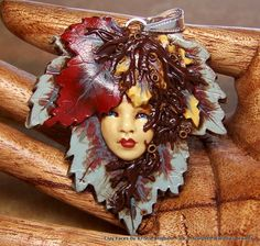 Maple Leaf Lady Goddess Face PENDANT or BEAD by sculptedwindows, $25.00