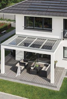 City Life - Haus 250 WeberHaus - Gartenterrasse von oben - Solarzellen Dach transparent