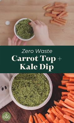 Low waste videos This simple healthy dip recipe is made using carrot tops and kale leaves. Healthy, zero waste and vegan, its the perfect snack for your sustainable party or appetizer for a low waste dinner. Healthy Dip Recipes, Healthy Dips, Kale Recipes, Top Recipes, Vegan Recipes, Dinner Healthy, Recipes Dinner, Kale Dip, Pulses Recipes