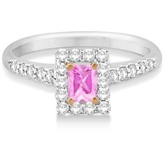 Allurez Halo Radiant Cut Pink Diamond Engagement Ring 14K W. Gold... (22.130 DKK) ❤ liked on Polyvore featuring jewelry, rings, 14k diamond ring, diamond band ring, round diamond ring, gold engagement rings and gold diamond rings