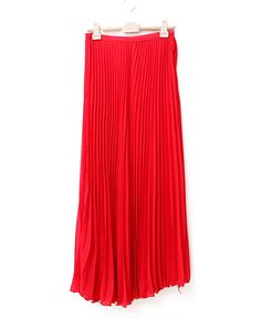 Red Maxi Skirt with Pleats