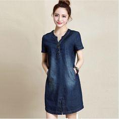 M ~ xxxl mujeres denim dress summer 2015 nuevas llegadas de algodón azul jeans dress para las mujeres con cuello en v gran tamaño vestidos tienda online ropa