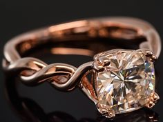 Moissanite Fire 2.40ct Diamond Equivalent Weight Cushion-Cut 14K Rose Gold Over Silver Solitaire Ring