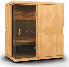 The mPulse Conquer is a full-spectrum infrared home sauna for three to four people that features Solocarbon heating technology, available exclusively from Sunlighten Infared Sauna, Sauna Infrarouge, Tall Cabinet Storage, Locker Storage, Deco Design, Liquor Cabinet, Furniture, Saunas, Terrace