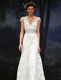 Claire Pettibone - V-Neck Sheath Gown in Lace