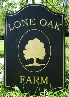 Custom farm sign with gold leaf letters