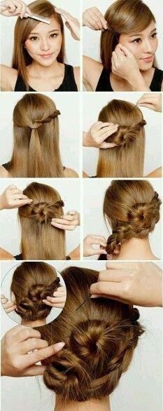Cute braided bun hairstyle for long hair