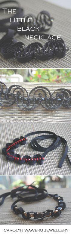 Beautiful black ribbon necklaces from Carolyn Waweru Jewellery