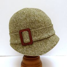 Love the Hat! 1920s Cloche in Olive Green and White Tweed with Leather Buckle