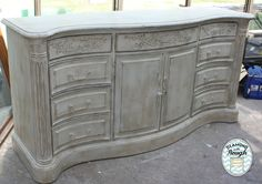 """Beautiful dresser painted in Websters and Behr Ultra """"Antique White"""" and a dark wax:)"""