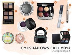 Ombretti Autunno 2013 - I colori e i must have per il nostro make up #shoppinglist #makeup #eyeshadow