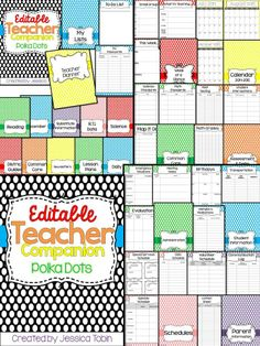 Polka Dot Editable Teacher Binder