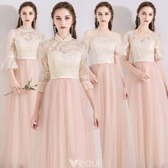 Chic / Beautiful Pearl Pink See-through Bridesmaid Dresses 2019 A-Line / Princess Appliques Lace Bow Sash Floor-Length / Long Ruffle Backless Wedding Party Dresses Pinterest Bridesmaid Dresses, Modest Bridesmaid Dresses, Prom Dresses, Backless Wedding, Cocktail Gowns, Wedding Party Dresses, Beautiful Gowns, Bridal Gowns, Designer Dresses