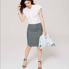 NWT Blurred Gingham Pencil Skirt Perfect for a job interview or for the office. True to size. New with tags. Only selling because it's sitting in my closet and I doubt I'll ever wear it! It zips and fastens in the back! LOFT Skirts Pencil