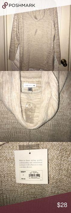 "NWT Croft & Barrow Cowl Neck Sweater Tan knit cowl neck sweater. Sleeve measuring armpit to cuff is 18"", armpit to armpit is 22"", armpit to hem is 19"". croft & barrow Sweaters Cowl & Turtlenecks"