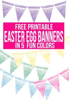 Get your home or party decorated with free easter printables by stringing up these printable Easter egg banners available in 5 pastel colors! pink, yellow, blue, green & purple