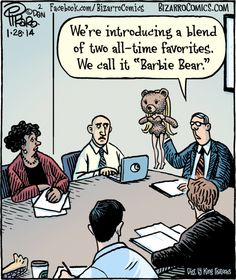 Barbie; teddy bear; focus group; marketing meeting; toys