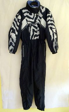 SKI SUIT ZODIAC by STORY VINTAGE Size GB 12 Euro 38 LADIES Zebra pattern retro in Sporting Goods, Skiing & Snowboarding, Clothing, Hats & Gloves | eBay