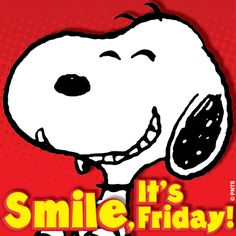 smile its Friday quotes quote charlie brown snoopy friday peanuts days of the week Snoopy Cartoon, Peanuts Cartoon, Peanuts Snoopy, Happy Friday, Happy Sunday Quotes, Weekend Quotes, Happy Weekend, Friday Images, Friday Pictures