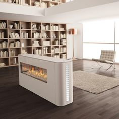 Contemporary double-sided fireplace by ITALKERO.