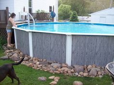 landscaping around pool.