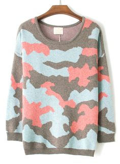 Blue Grey Camouflage Long Sleeve Loose Sweater
