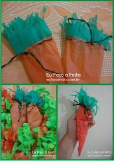 DIY - lembrancinha em formato de cenourinhas para páscoa.