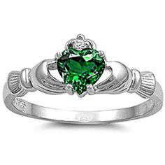 925 Sterling Silver Claddagh Ring  Emerald CZ