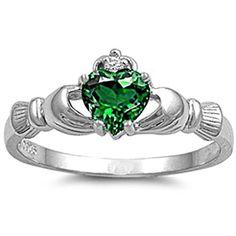 925 Sterling Silver Claddagh Ring  Emerald CZ